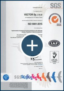 ISO certyficate for VECTOR, pdf document to dwonload